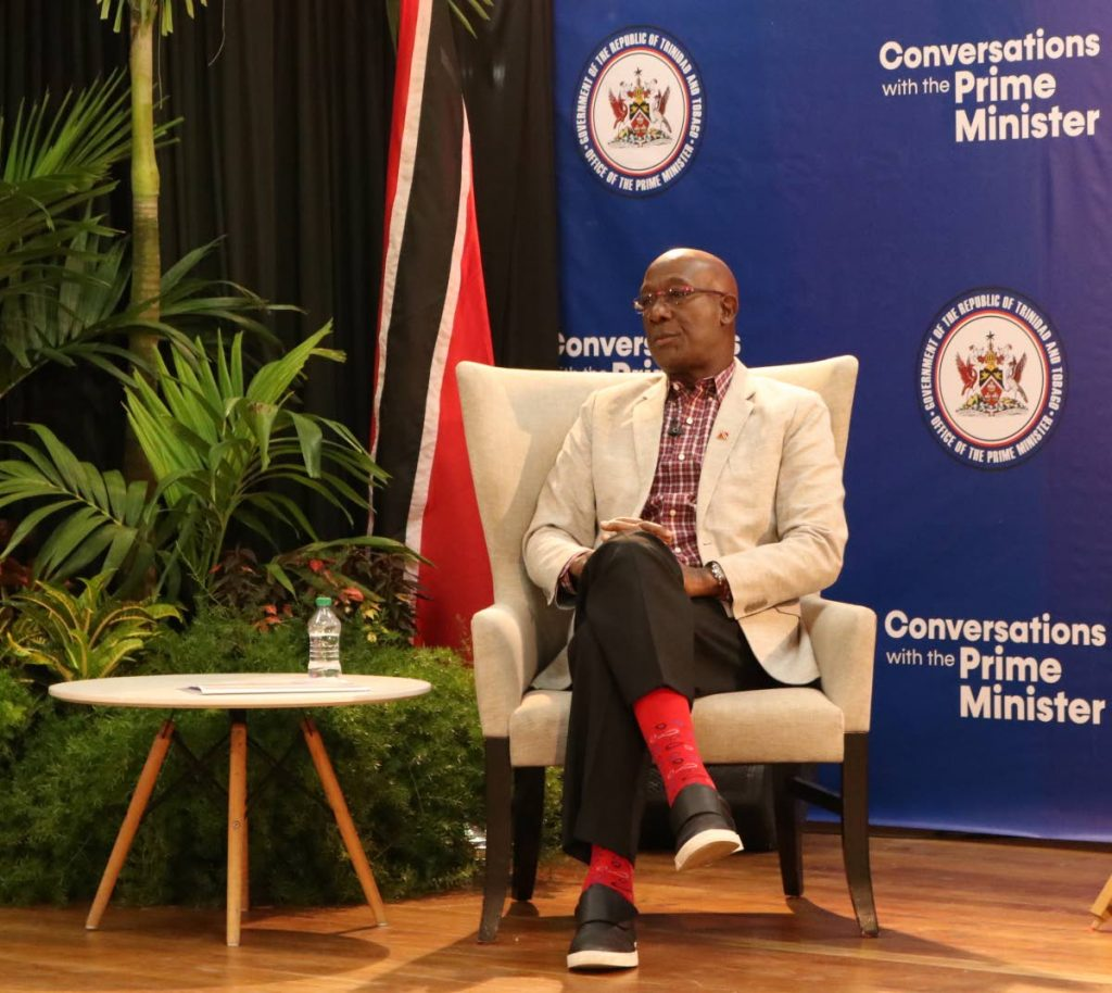 CLUELESS: Prime Minister Dr Keith Rowley at a Conversations with the PM forum on Thursday evening in Mt Lambert where he admitted not knowing when TT will get its covid vaccines. PHOTO COURTESY OPM  -