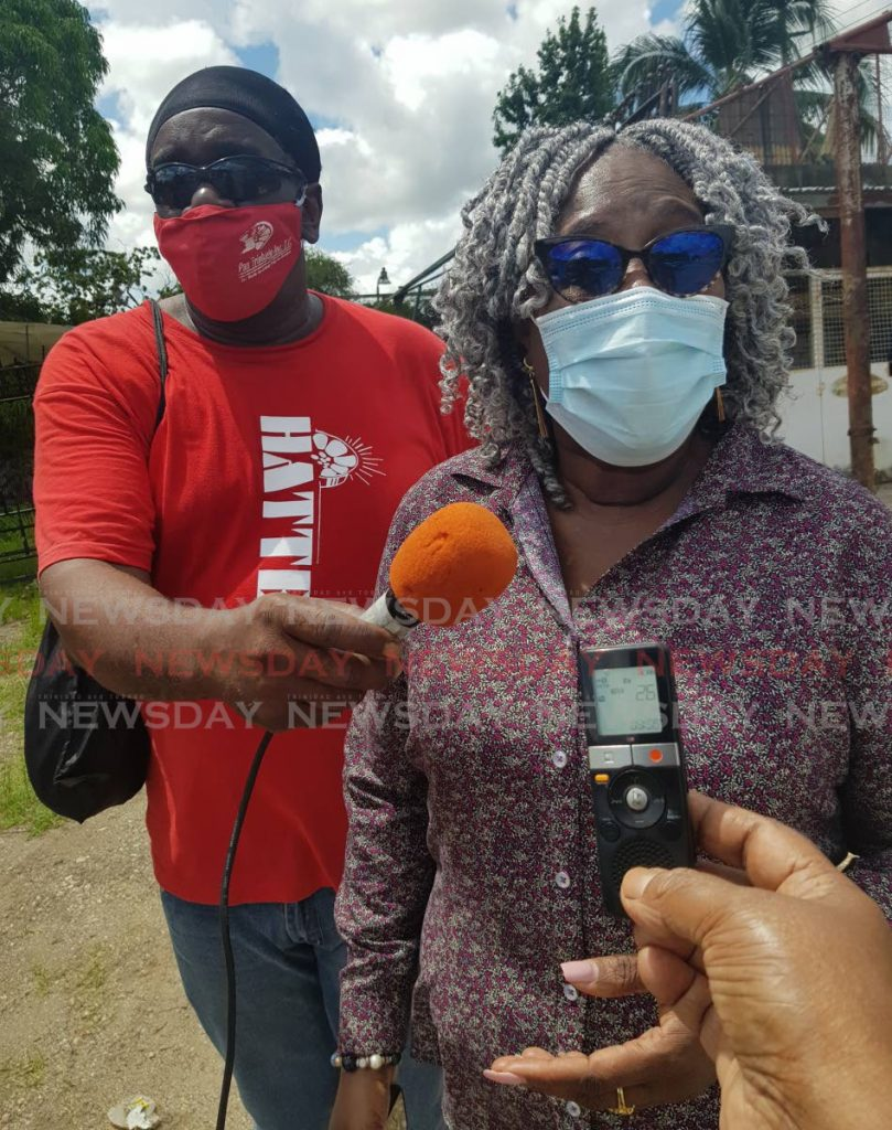 Pan Trinbago President, Beverley Ramsey-Moore, speaks to the media at the demolished Ministry of Works Building, Steve Archibar Street, San Fernando on Friday.  - Photo by Yvonne Webb