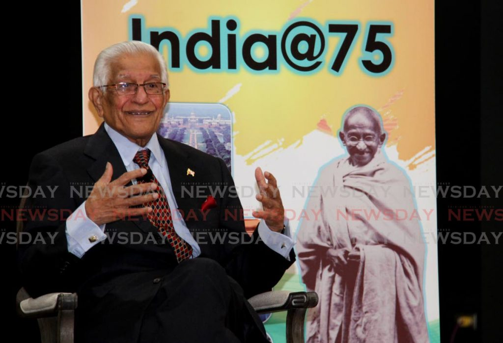 Former prime minister Basdeo Panday speaks about his experiences with India and its role in the world during a forum, Memories of India, held at the Mahatma Gandhi Institute of Cultural Co-operations, Mt Hope on Friday. - Photo by Ayanna Kinsale