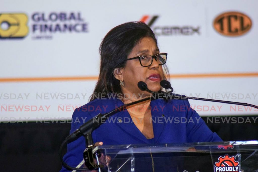 Trade and Industry Minister Paula Gopee-Scoon gives the feature address at the TTMA's annual meeting at Hyatt Regency, Port of Spain on Wednesday. - Photo by Vidya Thurab