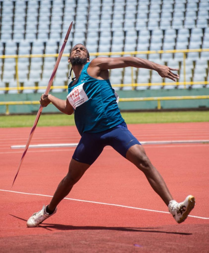 Nathaniel Mathura competes in the boys Under-20 javelin event at the National Association of Athletics Administrations Series Five at the Hasely Crawford Stadium in Port of Spain, on  Sunday.  - DENNIS ALLEN FOR @TTGAMEPLAN