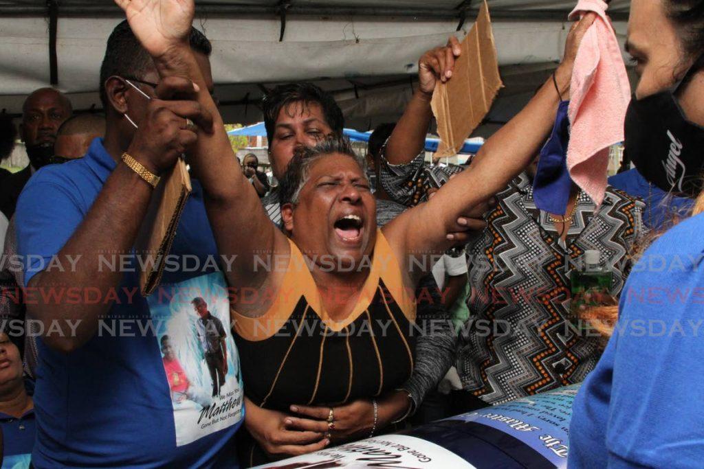 Bhagmanee Sookoo, the devastated grandmother of drowned teen Matthew Sookoo, screams,