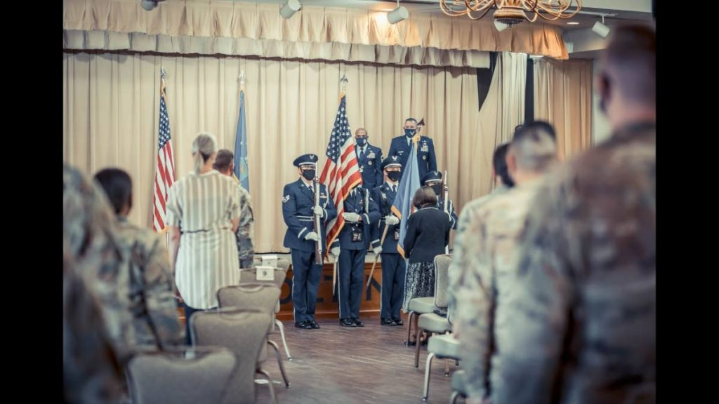 US Air Force Chief Master Sergeant Andy T Gilbert is honoured by the US Air Force with the Ceremony of the Flags.  -