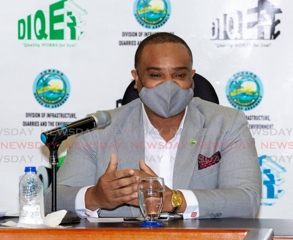 Secretary of Infrastructure, Quarries and Environment Kwesi Des Vignes at a news conference on Monday in Scarborough. - DAVID REID