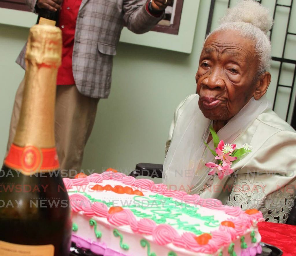 Former independent senator Dame Louise Horne as she celebrated her 104th birthday at the St Peter's Home for the Aged, St John's Road, St Augustine in May 2017. - Angelo Marcelle