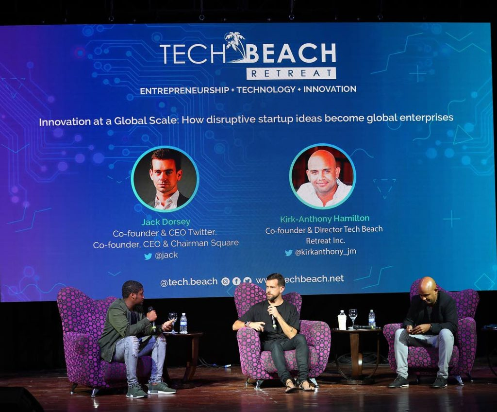 Tech Beach co-founders Kyle Maloney (left) and Kirk-Anthony Hamilton (right) with Twitter CEO Jack Dorsey in the centre.  -