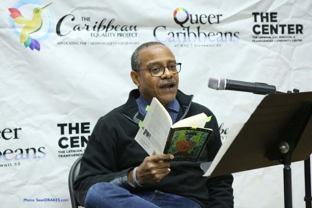 Activist and author Colin Robinson reads from his book You have You Father Hard Head in New York in October 2019. Robinson died of cancer in the US on Thursday. Photo courtesy Sean Drakes -