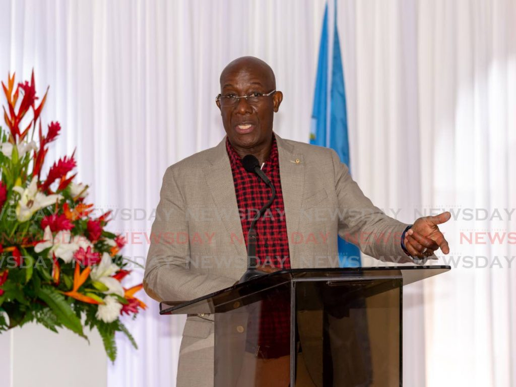 Prime Minister Dr Keith Rowley during the opening of the Roxborough hospital in Tobago on January 5. Rowley on Saturday said he did not have any covid19 systems two weeks before he got the virus. File photo -