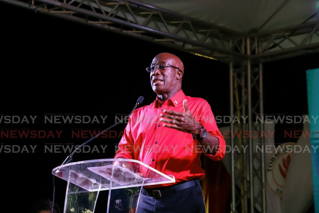 Prime Minister Dr Keith Rowley during a political meeting in Tobago on January 21. Photo by Jeff Mayers -