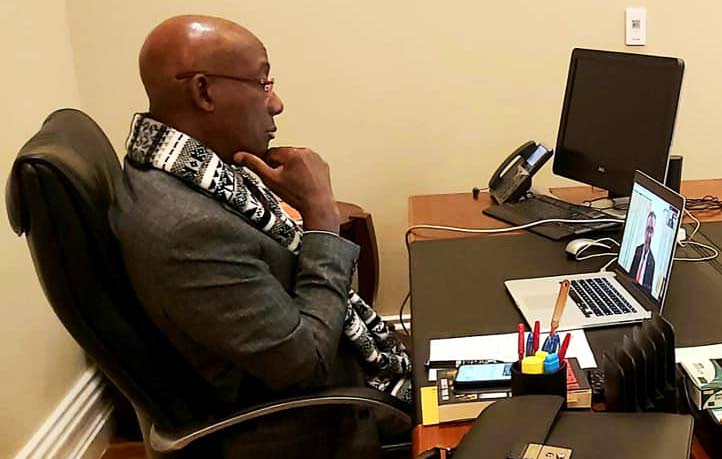 In this file photo Prime Minister Dr Keith Rowley speaks online with WHO Director General Dr Tedros Adhanom Ghebreyesus during a virtual meeting recently.   Photo courtesy OPM