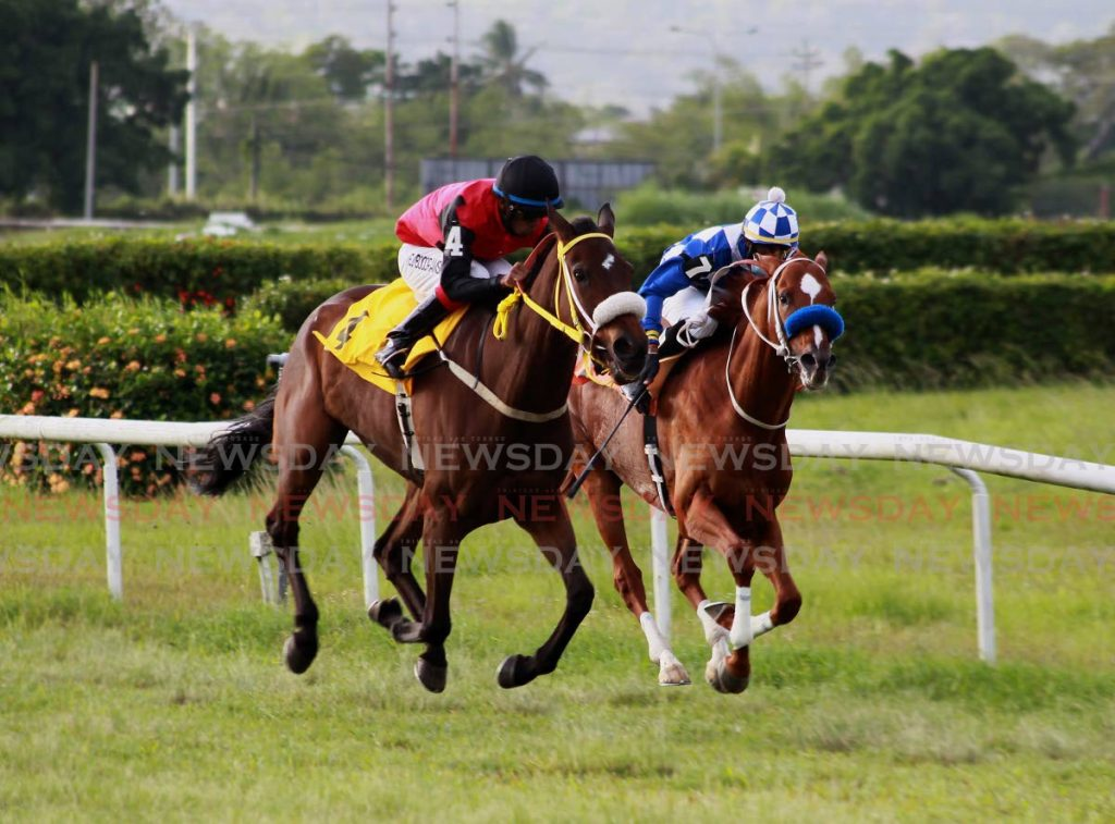 Bella Riva (left), ridden by Brian Boodramsinghh, overtakes favourite General JN, ridden by Dillon Khelawan, to win the NFM Champagne Stakes on Saturday at the Santa Rosa Park, Arima. Photo by Roger Jacob