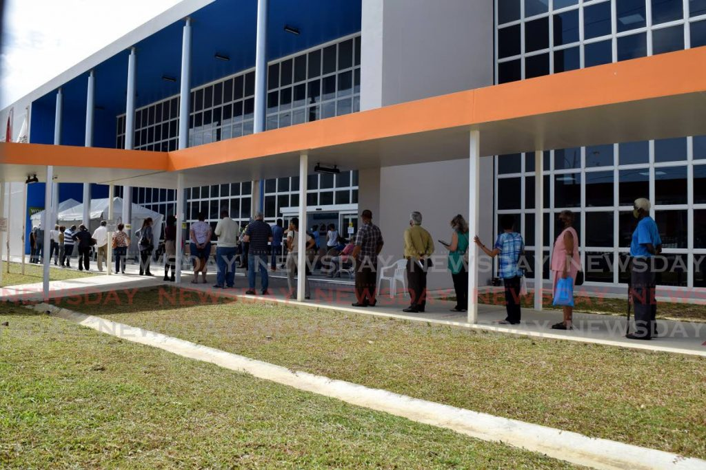 In this file photo, senior citizens line up at the Diego Martin Health Centre to register for dates to receive covid19 vaccines.  Photo by Vidya Thurab