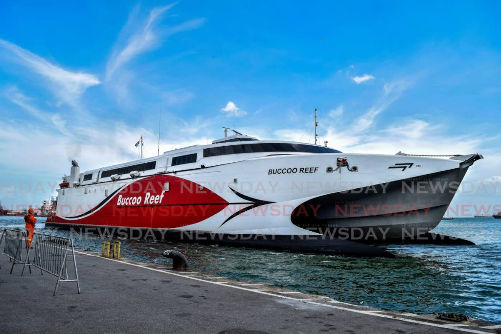 The inter-island catamaran Buccoo Reef docks at the Port Authority's Cruise Ship Complex at Dock Road, Port of Spain on Tuesday. - Vidya Thurab