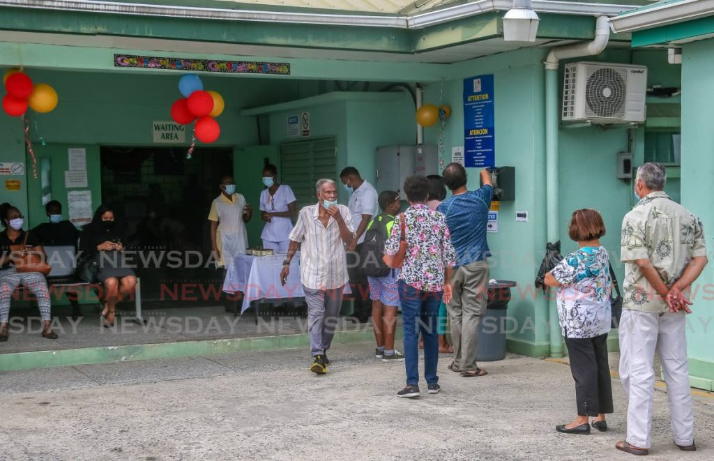 People line up to register for the covid19 vaccine at the Barataria Health Centre. Photo by Jeff Mayers - Jeff Mayers