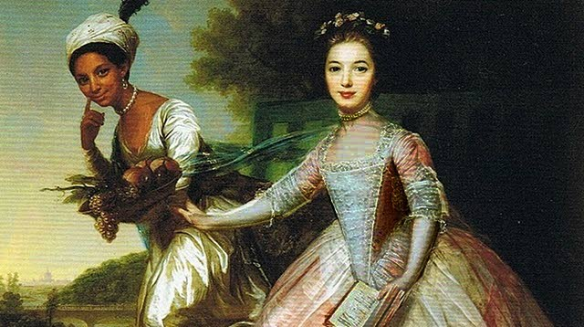 """Unusual for the age, Elizabeth """"Dido Belle"""" d'Aviniere was depicted, not as a servant, but as a social equal to her white cousin Lady Elizabeth Murray. This 1779 painting was formerly attributed to Johann Zoffany but has now been verified as a painting in Zoffany's style by the Scottish portraitist David Martin."""