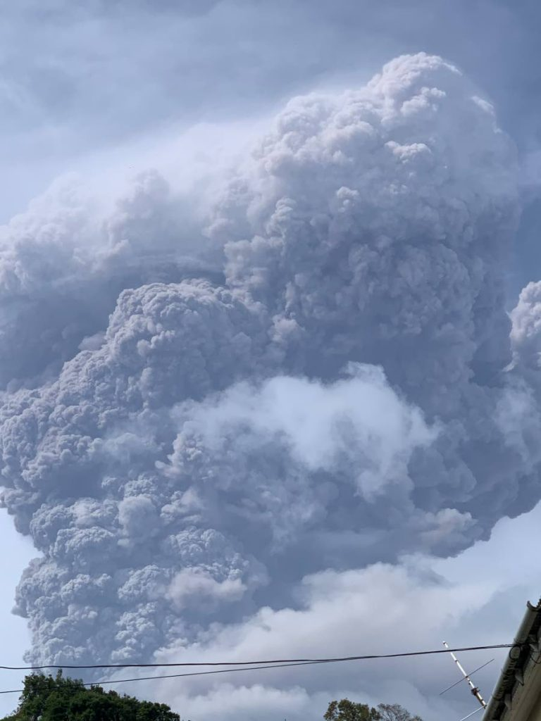Ash clouds from the second eruption of the La Soufriere volcano in St Vincent. Photo courtesy Kelroy Richards