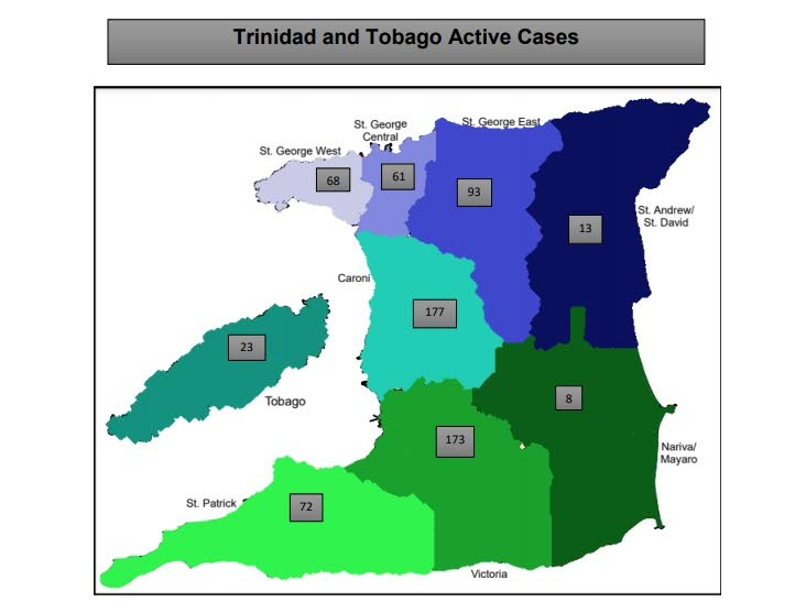 A breakdown of active cases in different counties across Trinidad and Tobago. - Graphic courtesy Ministry of Health