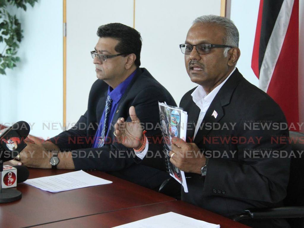 Couva South MP Rudranath Indarsingh (right) Photo by Angelo Marcelle