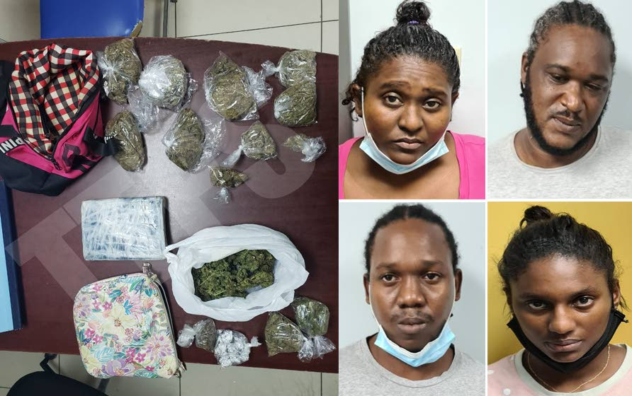 SEIZED: This composite photo shows from top right and clockwise: Jaiel Choy, her common-law husband Jevon Smth, Jaiel's brother Javon Choy and his common-law wife Bianca Peters who were all arrested by police after a raid at their house in Port of Spain which yielded a quantity of marijuana which is shown at left. Photo courtesy TTPS