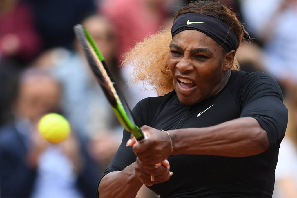 In this May 30, 2019 file photo, Serena Williams of the US returns the ball to Japan's Kurumi Nara during their women's singles second round match in the French Open tennis tournament in Paris. (AFP PHOTO) -