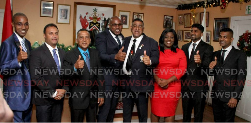In this file photo PNM and UNC councillors of the Sangre Grande Regional Corporation, from left, Paul Mungolas, Anil Juteram, Nassar Hosein, Kenwyn Phillip, Martin Terry Rondon, Simone Gill, Anil Deonarine Maraj and Calvin Seecharan at the swearing-in ceremony on December 9, 2019.  - Photo by Angelo Marcelle