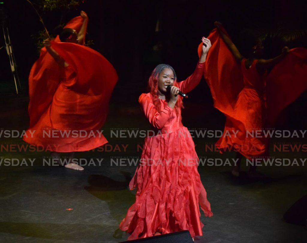 FILE PHOTO: Jerrisha Duncan-Regis performs Lift Me Up at NWAC's 36th Annual National Calypso Queen Competition on February 2, 2020 at Queens Hall, St Ann's. - Vidya Thurab