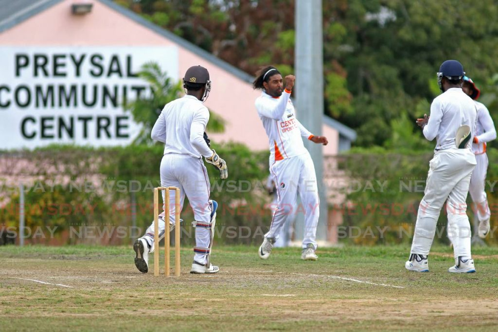 In this Feb 16, 2020 file photo, Central Zone's Imran Khan (C) celebrates taking a wicket in a TTCB match against Preysal, at Inshan Ali Park, Preysal. Domestic cricket still awaits its return a year after restrictions were implemented by the Government to prevent the spread of the coronavirus.  Photo by Marvin Hamilton