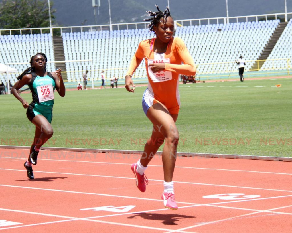 In this March 21, 2021 file photo, Point Fortin New Jets' Natasha Fox takes part in the Under 20 400m at the NAAAs Track and Field series, at the Hasely Crawford Stadium, Port of Spain.  - AYANNA KINSALE
