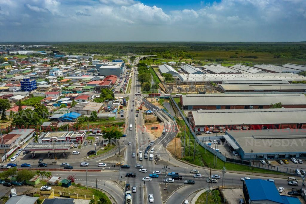 An aerial view of Morvant Junction where roadworks are underway. The private sector must be integrated in government plans for the future of the economy. Photo by Jeff K. Mayers