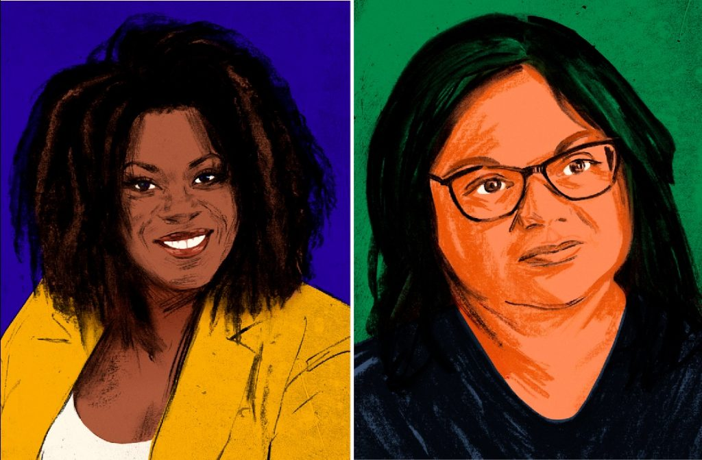 An artist's rendition of actress Lorraine Toussaint and writer Ingrid Persaud for the Alexander app. PHOTOS COURTESY GIA KUAN