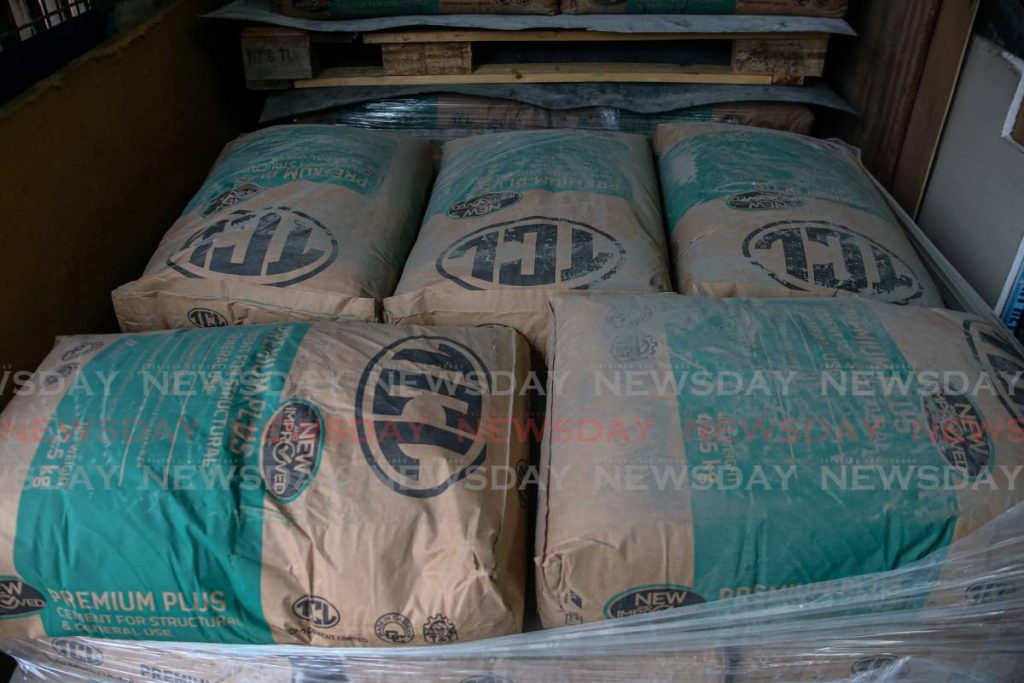 TCL cement in stock at Pariagh's Hardware Ltd, Chaguanas. Photo by Jeff K Mayers -