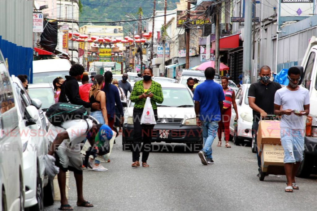 Shoppers on Charlotte Street, Port of Spain on Monday afternoon. - ROGER JACOB