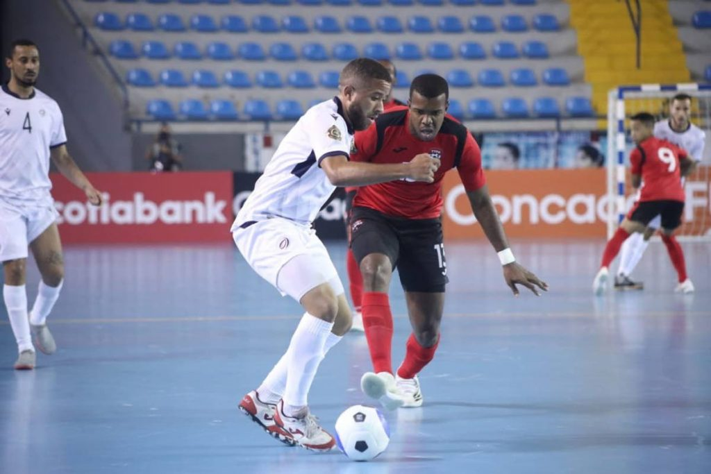 Action during the TT versus Dominican Republic match at the 2021 Concacaf Futsal Championships, in Guatemala, on May 4. -