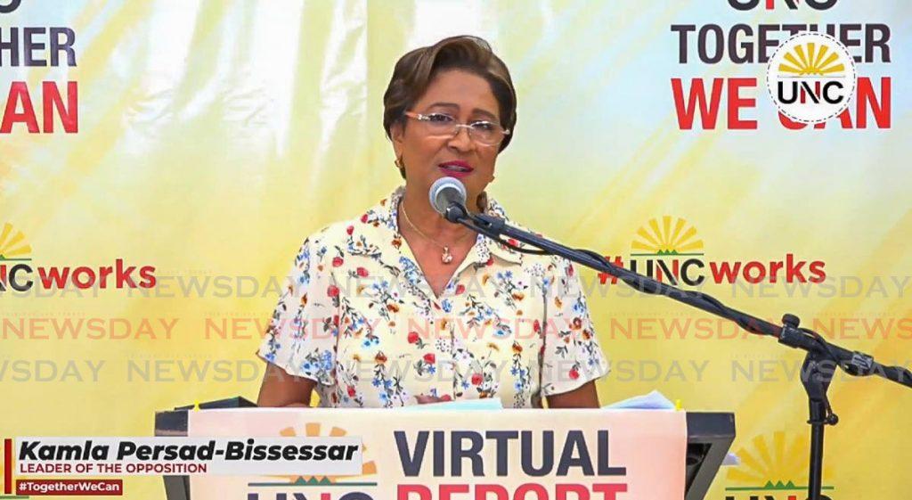 File photo: Opposition Leader Kamla Persad-Bissessar.