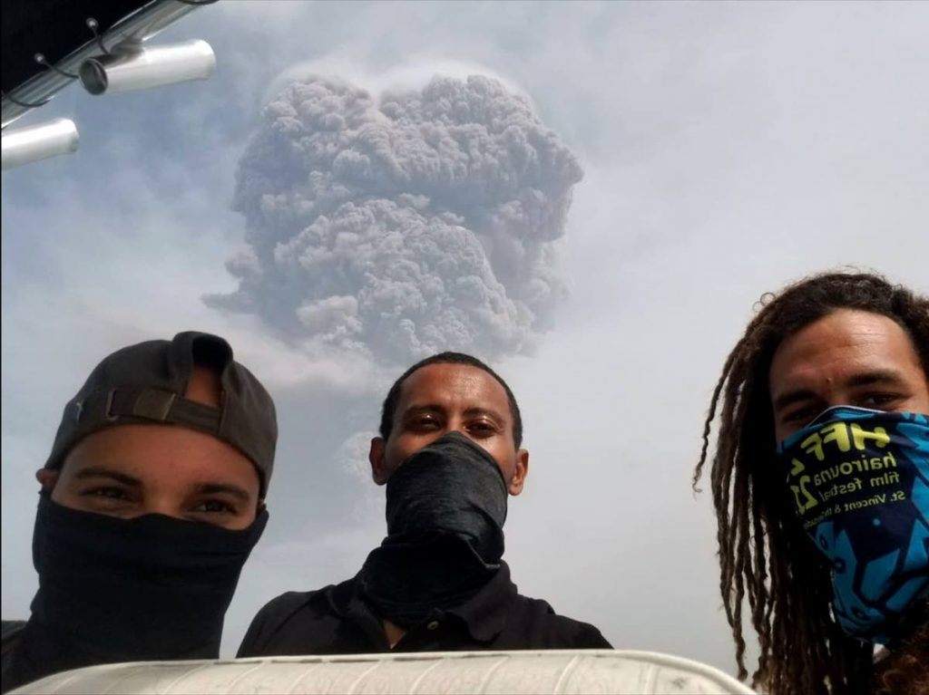 Nadia Huggins with  Nick Spencer and Kai Best. Huggins says after the volcano erupted and seeing the explosion going up was a moment of awe.  - Nadia Huggins
