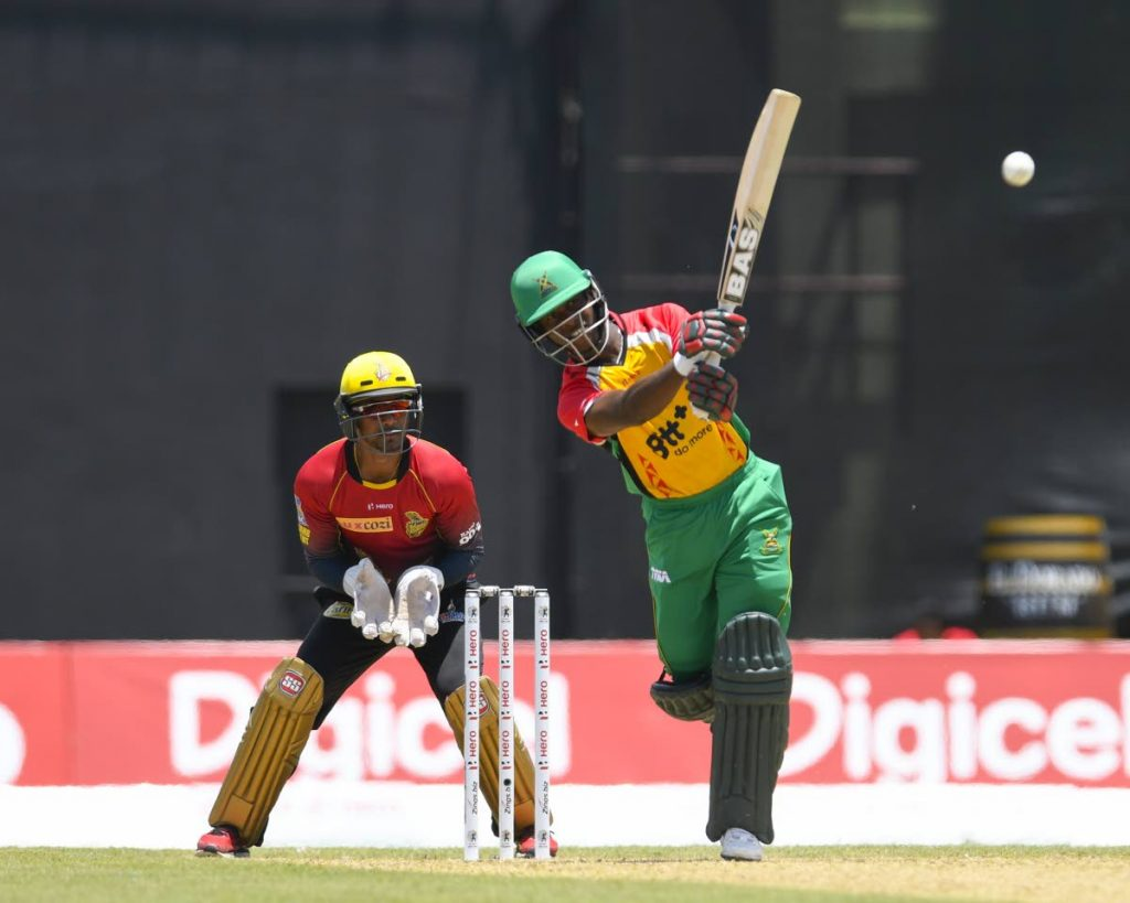 In this August 19, 2017 file photo, Guyana Amazon Warriors' Jason Mohammed hits a six in a CPL match vs Trinbago Knight Riders at the Guyana Nationl Stadium in Providence.  Photo by Randy Brooks - CPL T20