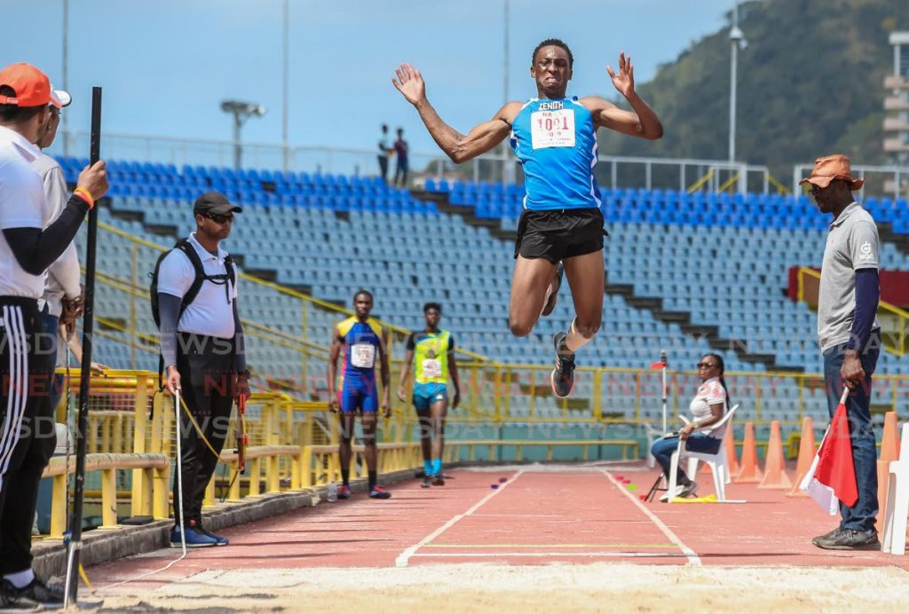 In this March 24, 2019 file photo, Savion Joseph of Zenith club competes in the boys Under-20 long jump during the Carifta trials, at the Hasely Crawford Stadium, Mucurapo. PHOTO BY JEFF MAYERS. - Jeff Mayers