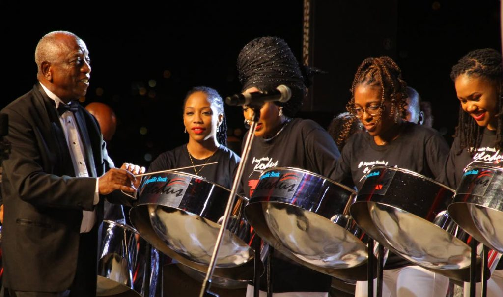 Desmond Waithe, artistic director, leads Exodus at the Big 5 Concert, Third Edition, hosted by the International Steelband Foundation at the Queen's Park Savannah, Port of Spain, in Ocotober 2019. - ROGER JACOB