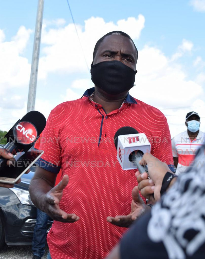 In this Aug 25, 2020 file photo, then men's U17 head coach Angus Eve speaks with the media outside the  Ato Boldon Stadium, Couva. On Sunday, the TTFA's normalisation committee appointed Eve as the senior men's team head coach. - Vidya Thurab