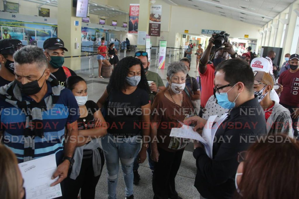 Some members of a Venezuelan group who left on a special flight in February. - SUREASH CHOLAI