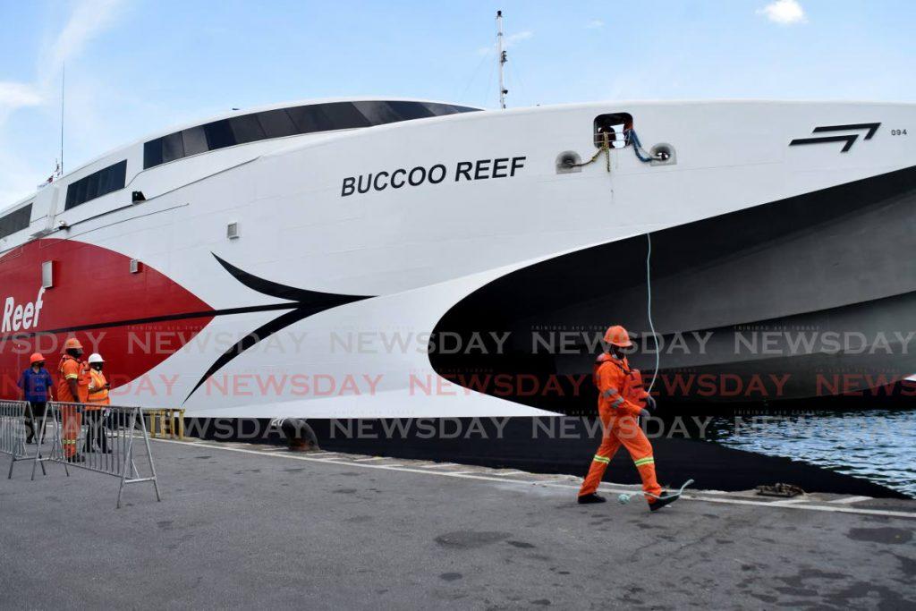 The inter-island catamaran Bucco Reef docked at the Port Authority Cruise Ship Complex, Dock road, Port of Spain. - Vidya Thurab
