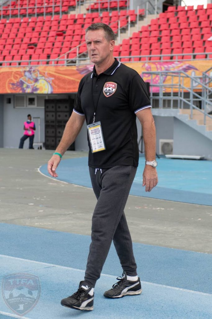 TT coach Terry Fenwick walks to the touchline before the start of the 2022 FIFA World Cup qualifier between TT and Bahamas at the Thomas Robinson Stadium, Nassau, Bahamas on June 5.  - via TTFA Media