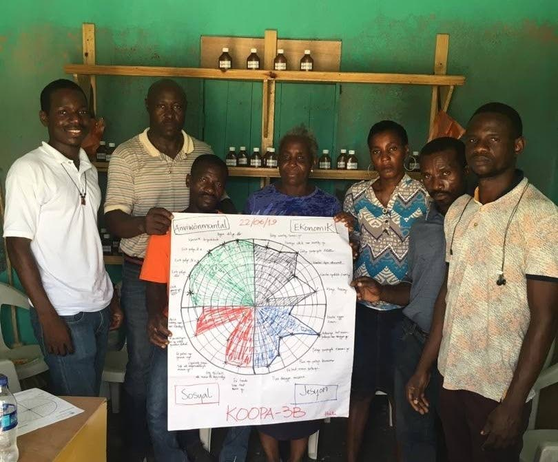 KOOPA-3B beekeepers and their PISCES project mentor, Josue Celiscar, far left, in Haiti.  Their project is among six community projects highlighted in a podcast mini-series for World Oceans Day. - Photo courtesy Josue Celiscar