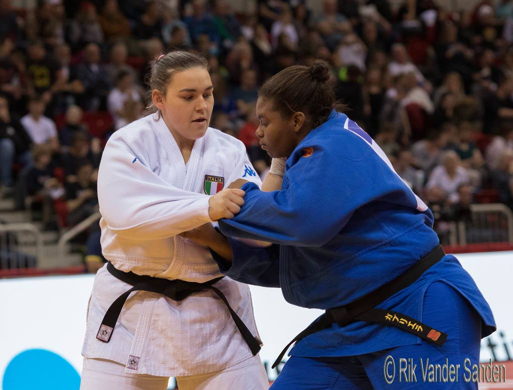 In this Feb 23, 2020 file photo, Italy's Eleonora Geri (L) and TT's Gabriella Wood take part in the  Grand Slam Düsseldorf 2020, at the ISS Dome, Germany.