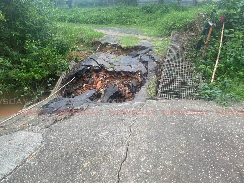 A collapsed bridge at Chin Yeun Kee Trace, Cap-de-Ville in Point Fortin - Photo by  Narissa Fraser