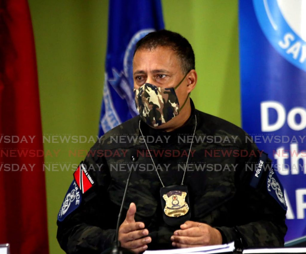 Gary Griffith at a police media briefing at the Police Administration Building in Port of Spain on Monday. - Photo by Sureash Cholai