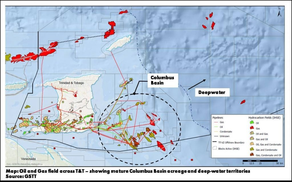 Map of oil and gas fields across TT showing mature Columbus Basin acreage and deep-water territories. Image courtesy GSTT -