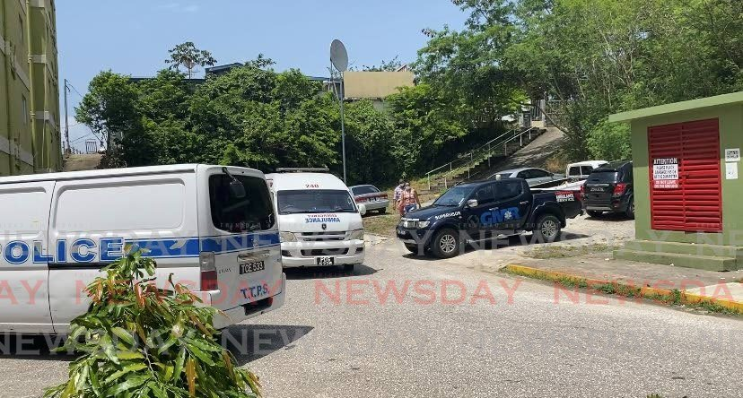 Police and health personnel at Olera Heights, San Fernando on Friday afternoon.  - Narissa Fraser