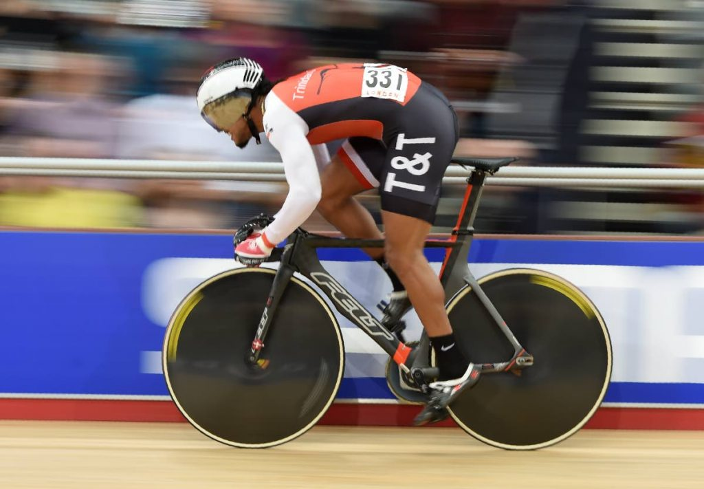 In this March 4, 2016 file photo, TT's Njisane Phillip competes in the Men's Sprint qualifying during the 2016 Track Cycling World Championships at the Lee Valley VeloPark in London.  -