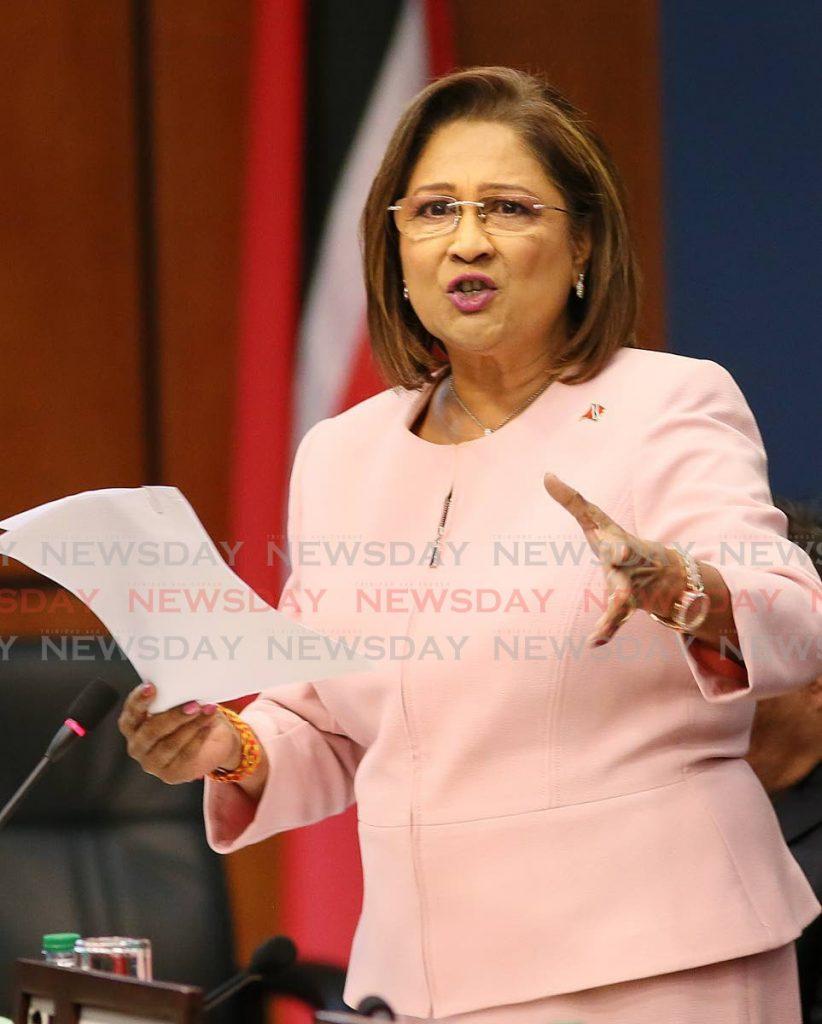 Opposition Leader Kamla Persad-Bissessar. -